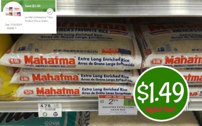 5lb Bag of Mahatma Rice $1.49 at Publix