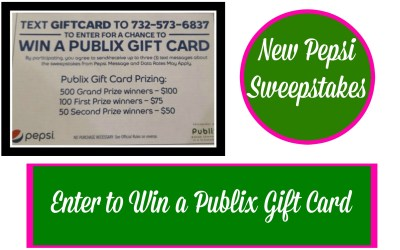 Pepsi Sweepstakes ~ Enter for a chance to win $100 Publix Gift Card