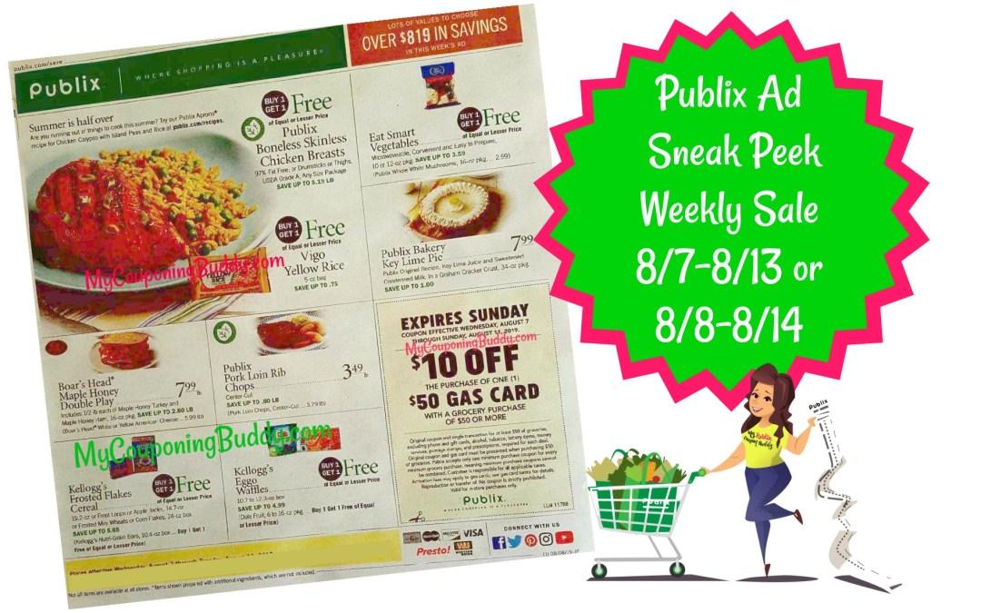 Publix Ad Scan Sneak Peek Weekly Sale 8/7-8/13 or 8/8-8/14