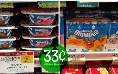 Chobani Gimmies 6pk & Singles Yogurt 33¢ ea. at Publix