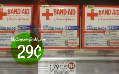 Band_Aid Gauze Pads 29¢ at Publix