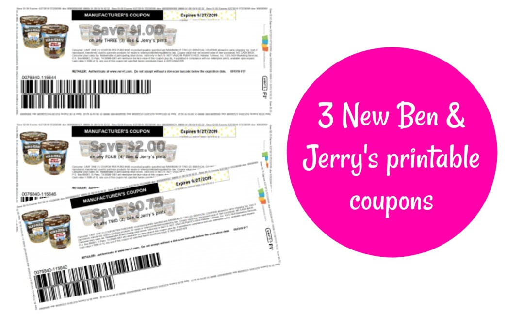 Click here to print 3 new Ben & Jerry's printable coupons