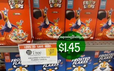 Kellogg's Cereal $1.45 at Publix