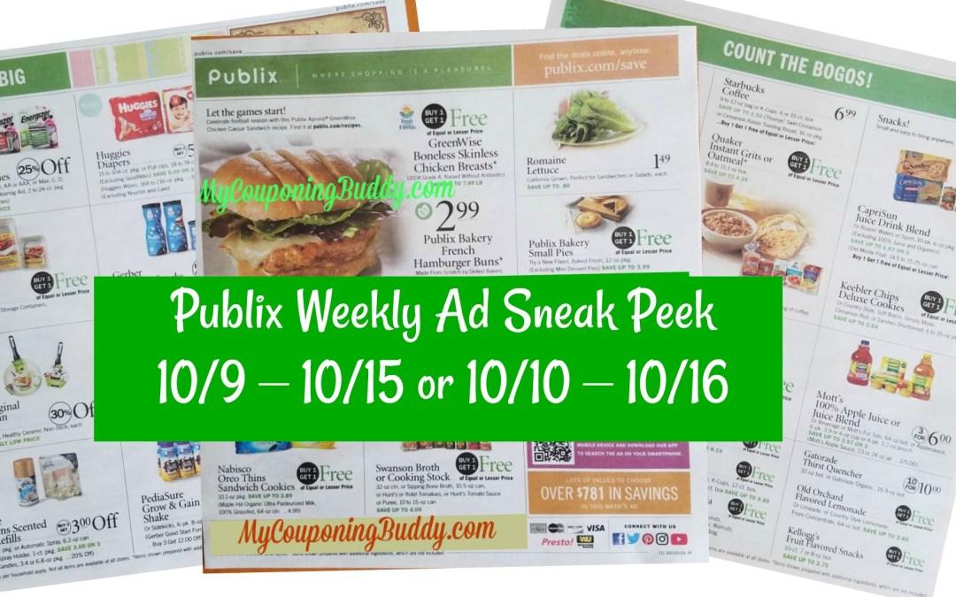 Publix Weekly Ad Sneak Peek & Full MatchUps 10/9 – 10/15 or 10/10 – 10/16