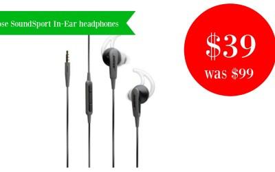 Bose SoundSport In-Ear headphones $39