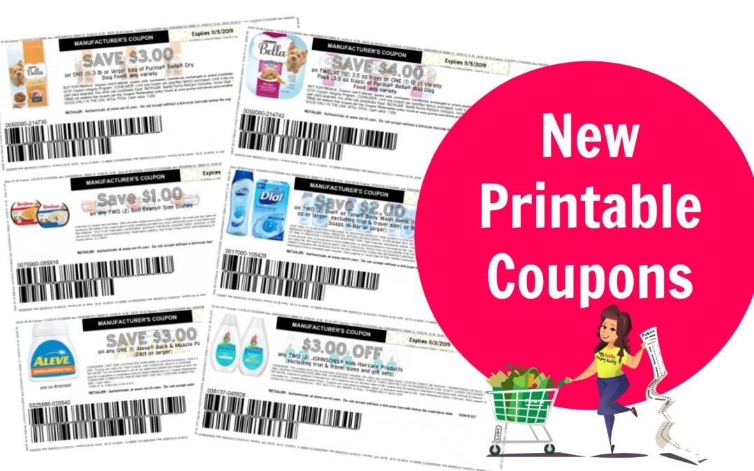 New Printable Coupons Dial, Sundown, Always, Morning Star, Bella Dog Food Publix