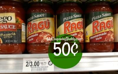 Ragu Pizza Sauce 50¢ at Publix