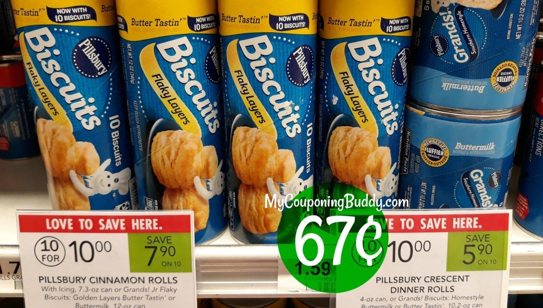 Pillsbury Biscuits Pillsbury Crescent Dinner Rolls 4-oz can or Cinnamon, 7.3-oz can; or Grands! Biscuits 10.2 or 12-oz can Publix