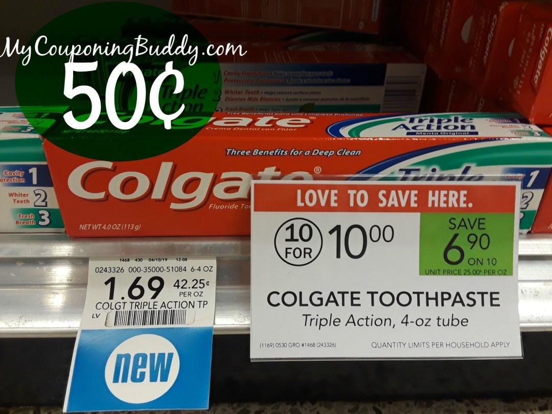 Colgate toothpaste 50¢ at Publix