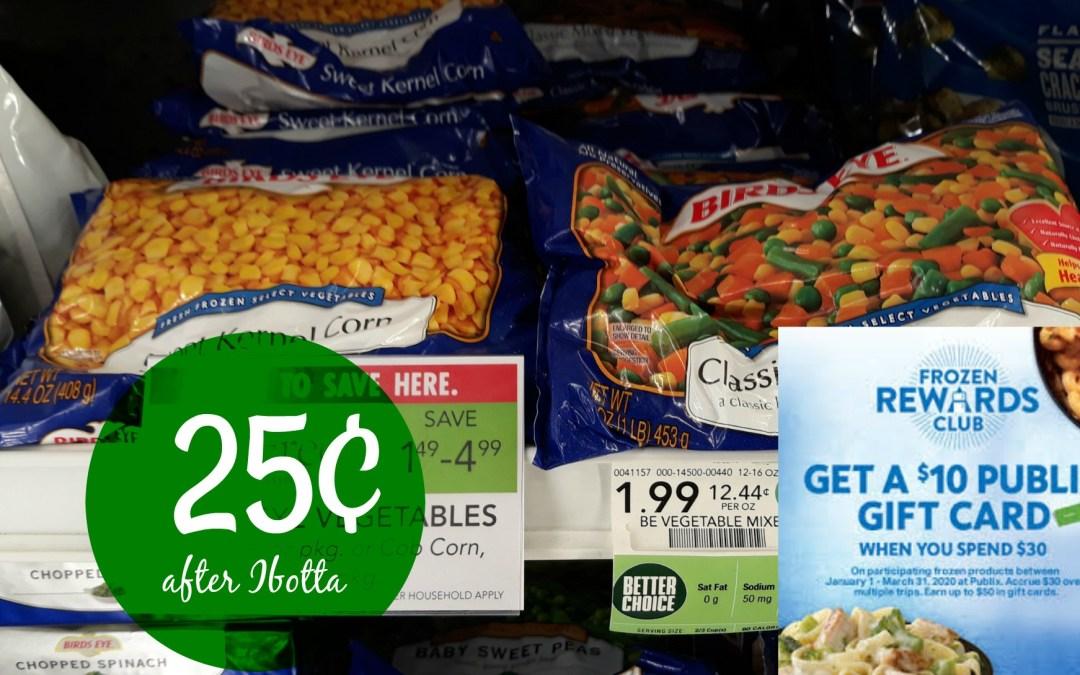 Bird's Eye vegetables 25¢ at Publix after Ibotta rebate