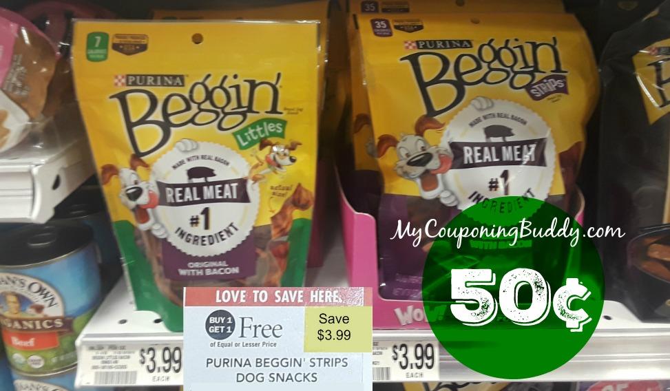 Purina Beggin Strips 50¢ at Publix