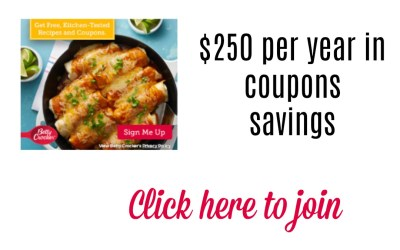 Join Betty Crocker get up to $250 per year in coupons savings!