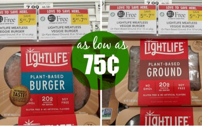 Lightlife Meatless Veggie Burger Or Plant-Based Ground as low as 75¢ at Publix