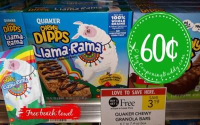 Quaker Chewy Granola Bars 60¢ at Publix  (PLUS FREE Beach Towel wyb 3)