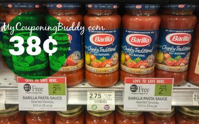 Barilla Pasta Sauce 38¢ at Publix