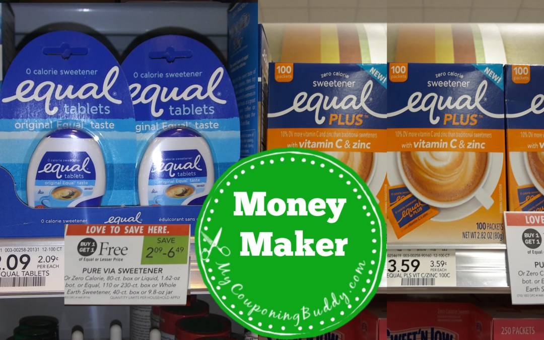 Publix Weekly Sale 4/15 - 4/21 or 4/16 -4/22 Money Maker on Equal Sweteners at Publix