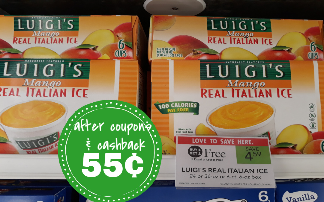 Luigi's Italian Ice 55¢ at Publix (after coupons & cashback)
