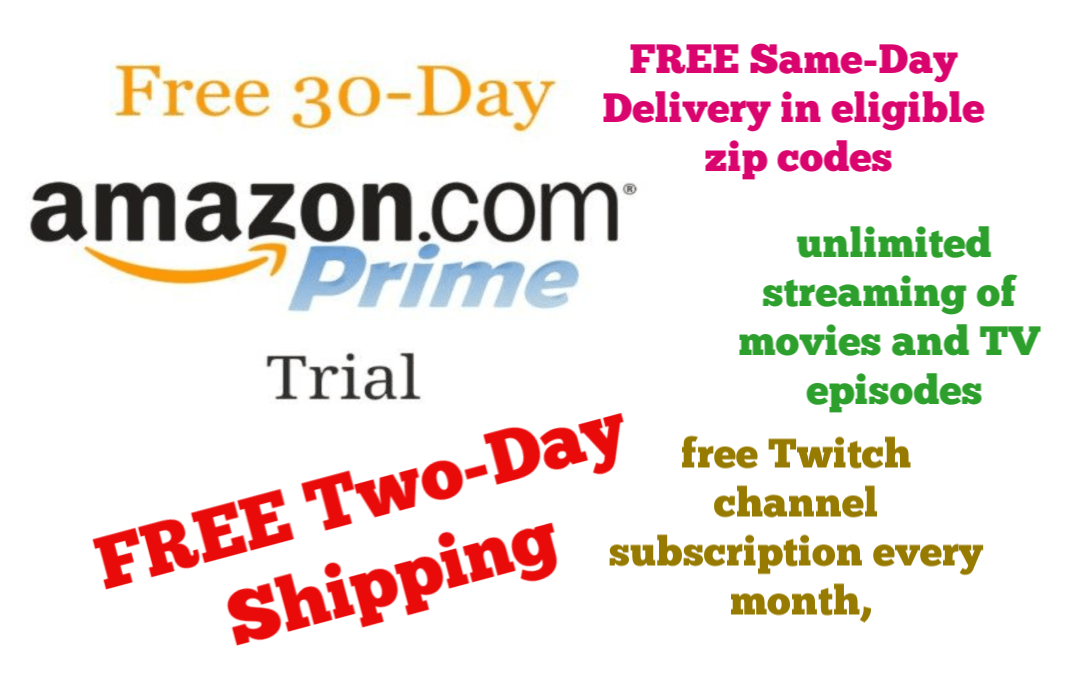 Get Amazon Prime FREE for 30 days!