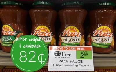 Pace Salsa  82¢ a jar at Publix (after coupon & cashback)