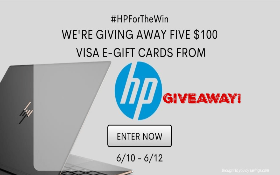 Savings.com is giving away five $100 Visa e-gift cards from HP!