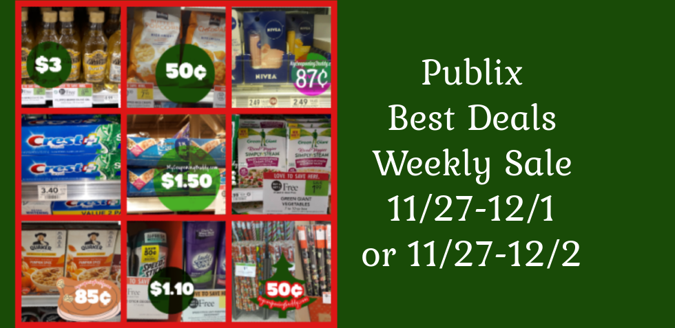 Publix Best Deals Weekly Sale 11/27-12/1 or 11/27-12/2