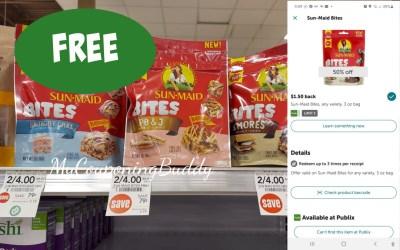 Sun-Maid Bites FREE after Digital Coupon & Ibotta at Publix