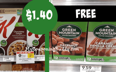FREE Green Moutain Coffee K Cups WYB Special K Cereal $1.40 at Publix