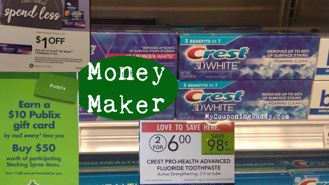 Money Maker Crest Toothpaste at Publix with coupon