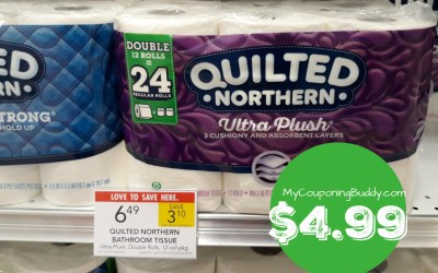 Quilted Northern Toilet Paper 12pk or 6pk MEGA rolls $4.99 at Publix