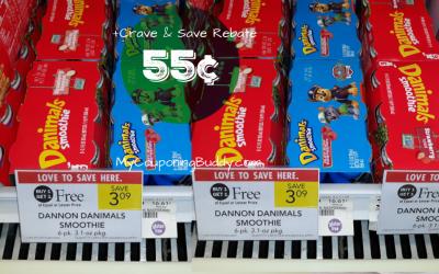 Danimals Smoothies 6pk 55¢ at Publix