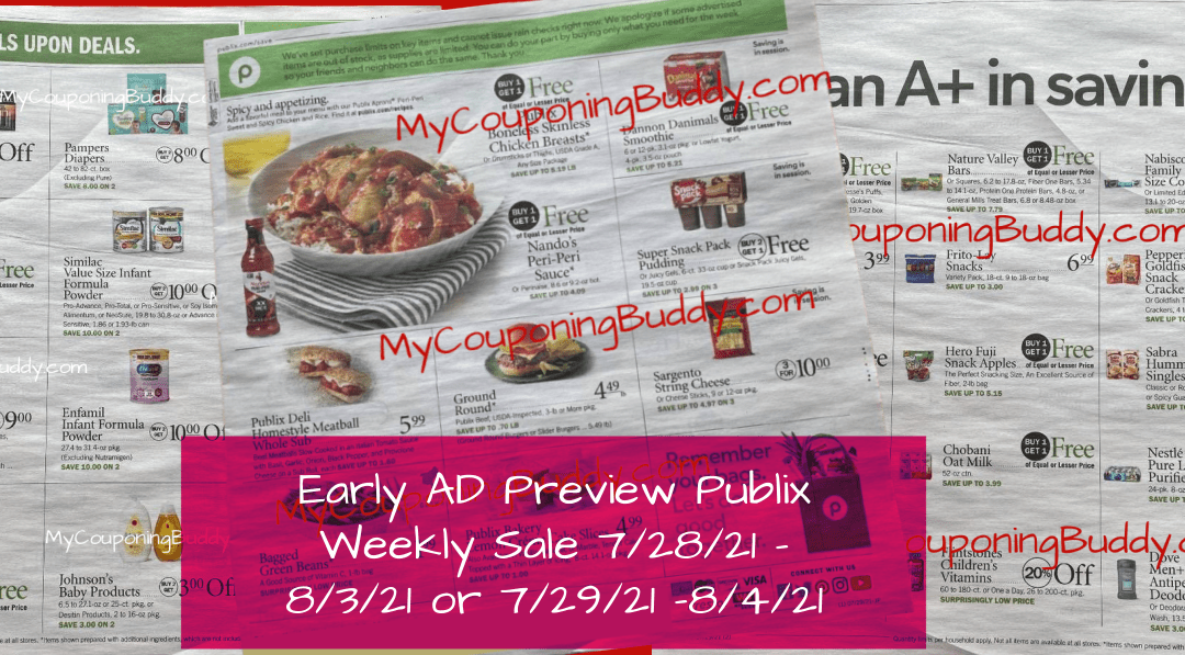 Early AD Preview Publix Weekly Sale 7/28/21 – 8/3/21 or 7/29/21 -8/4/21