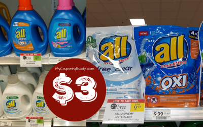 All Laundry Detergent 39 ct Pods as low as $3 at Publix