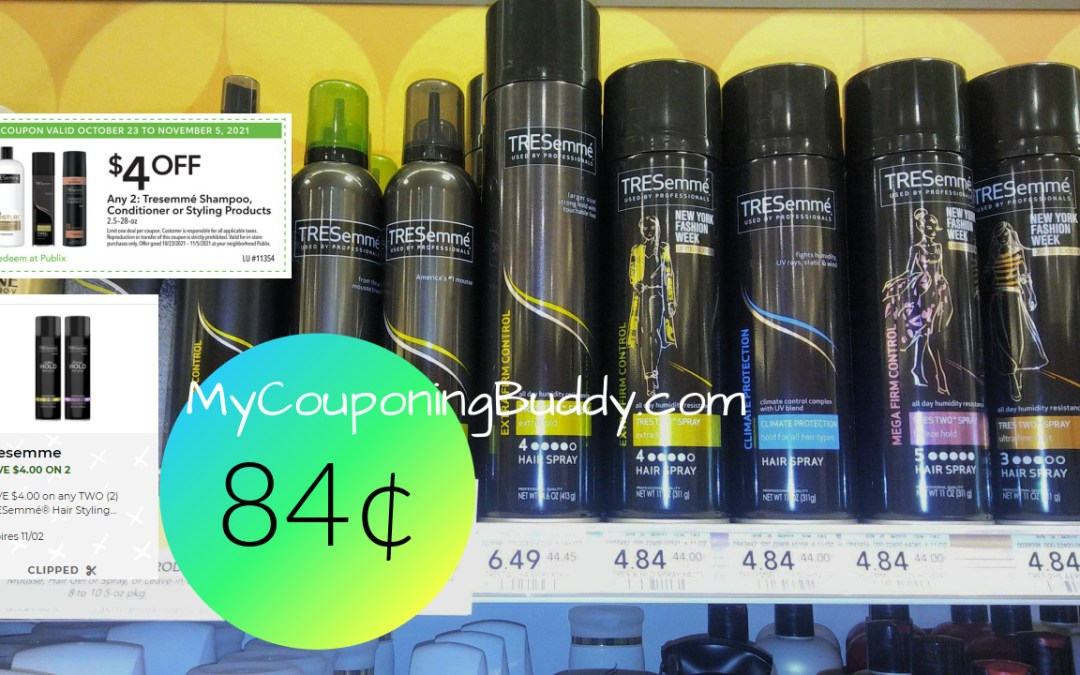 TRESemme Styling products 84¢ at Publix