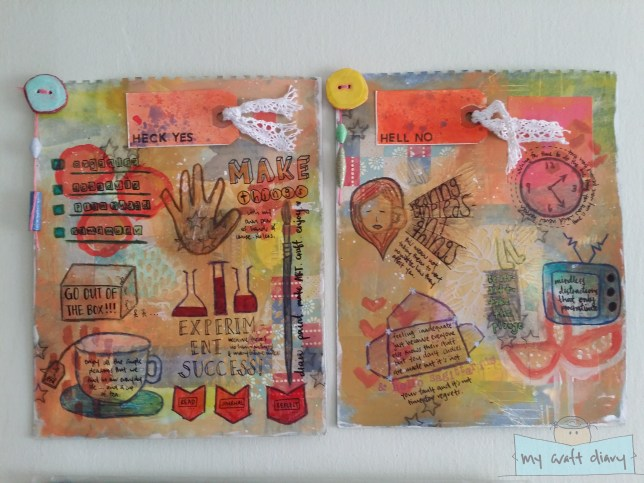 Resolution art journal pages hanging on my wall