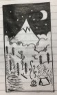 """ MOUNTAIN NIGHT SCENE "" sketched by my niece NAZAHAH KHAN"