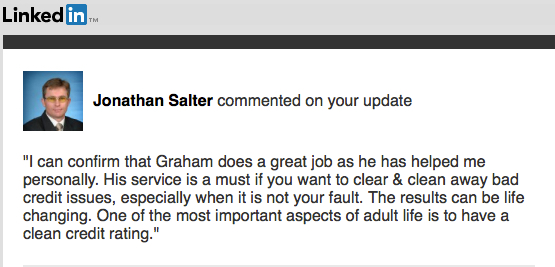 Mortgage Broker Jonathan Salter MyCRA Lawyers Testimonial on LinkedIn