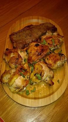 chicken, steak