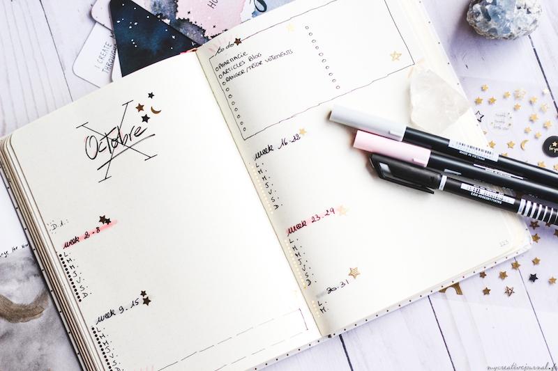 idées de page mensuelle agenda bullet journal