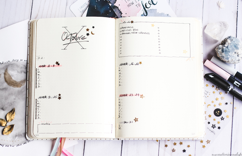 plan withe me octobre bullet journal agenda exemple page