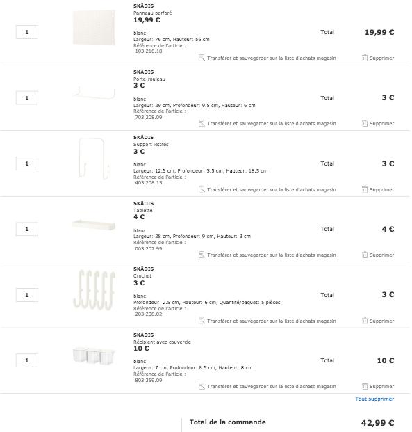 panneau perforé blanc rangement DIY pas cher ikea SKÅDIS