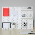 rangements matériel créatif panneau perforé blanc ikea