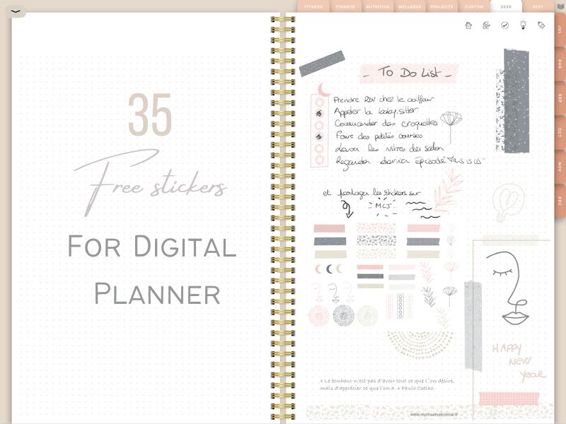 35 free stickers digital planner 2021