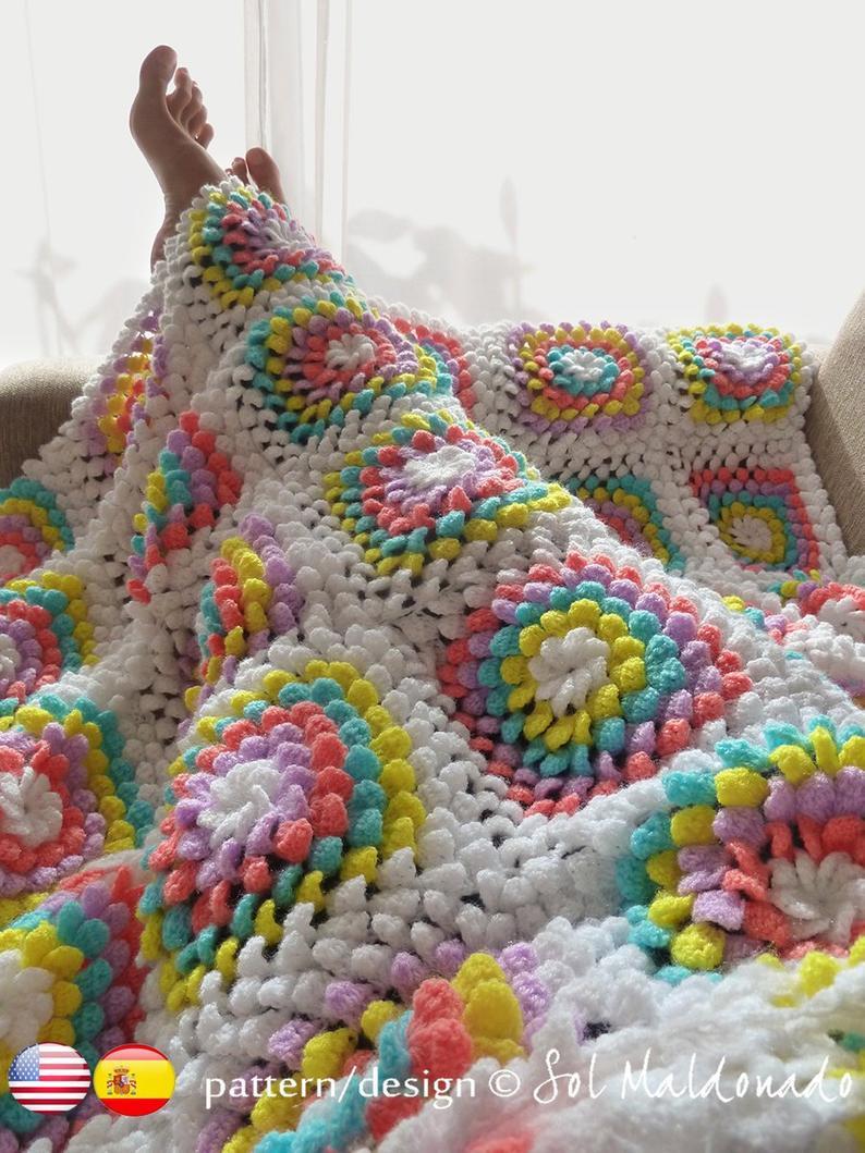 Blanket Crochet Pattern Blanket Crochet Pattern Yummy Flower Granny Square Photo Etsy