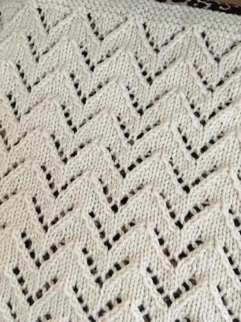 Chevron Knitting Pattern Knitting Pattern Lace Chevron Blanket Pdf Aran Instant Etsy