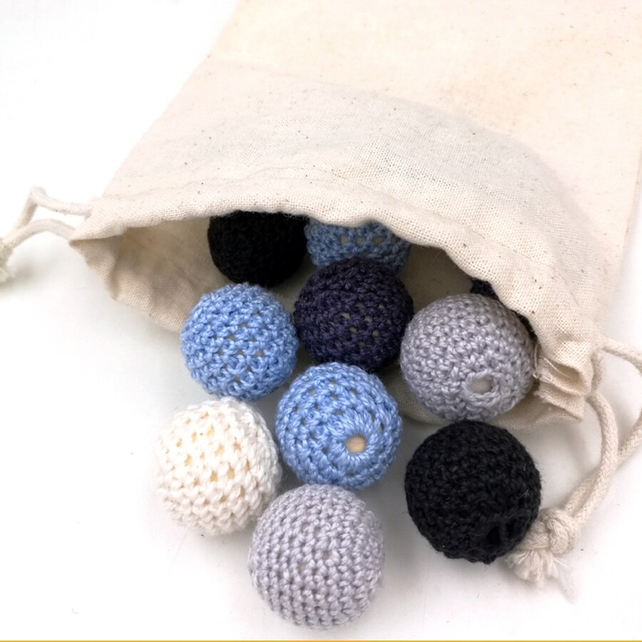 Crochet Ball Pattern 20pcs Crochet Beads Shade Grey Chunky Wooden Round Beadshand