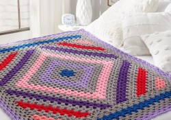 Crochet Diamond Pattern  Diamond In The Rough Crochet Throw Red Heart