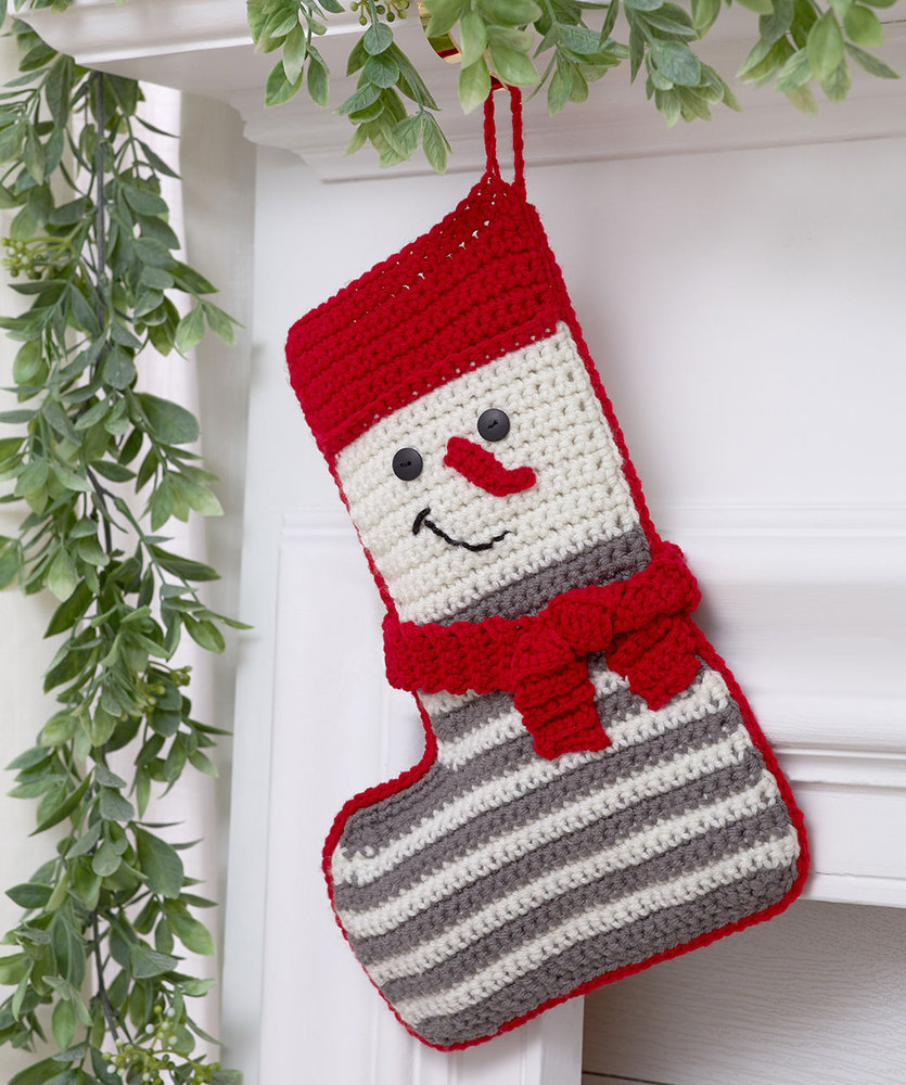 Crochet Stocking Pattern  Crochet Snowman Stocking Red Heart
