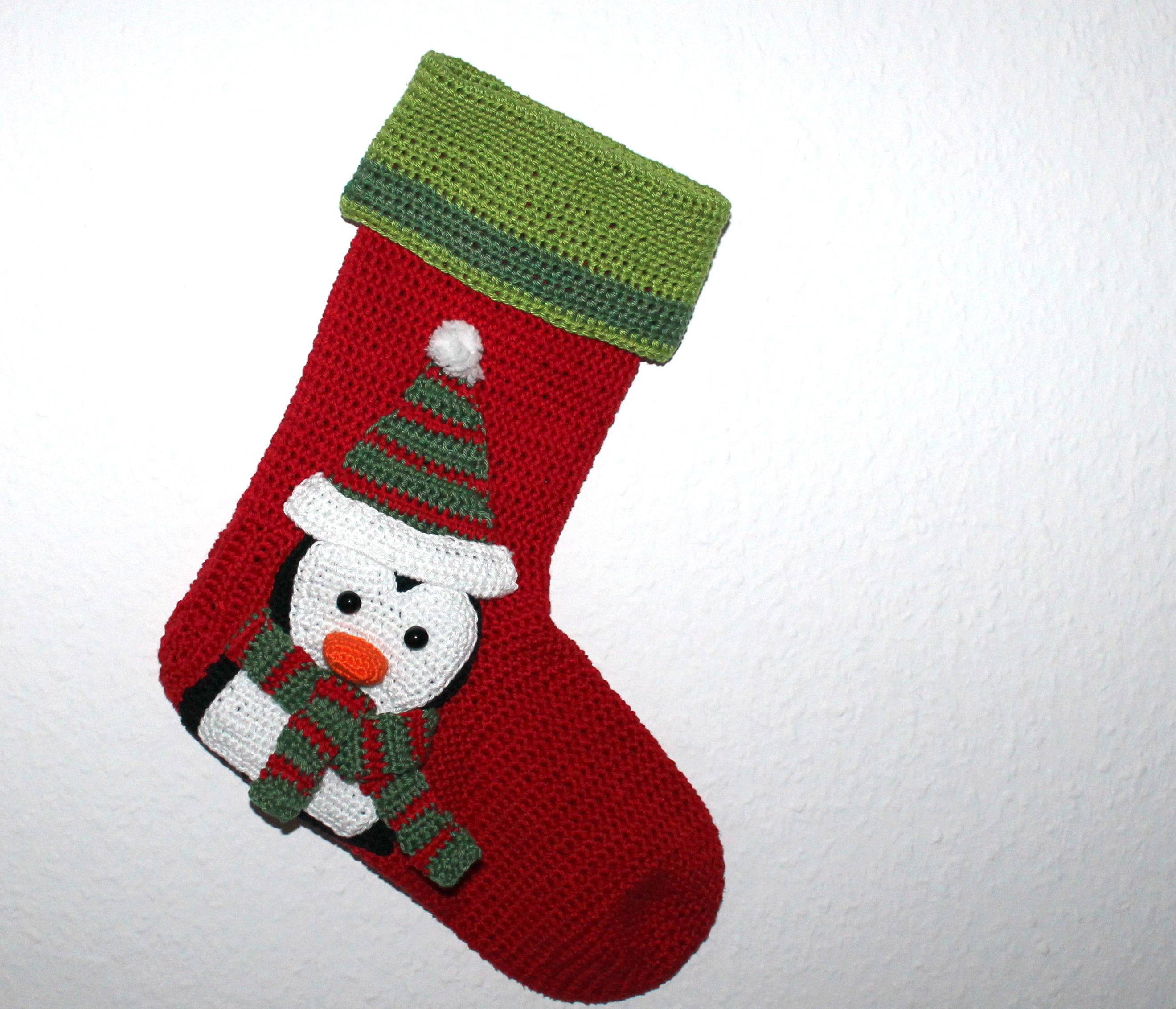 Crochet Stocking Pattern  Xmas Stocking Penguin Crochet Pattern English