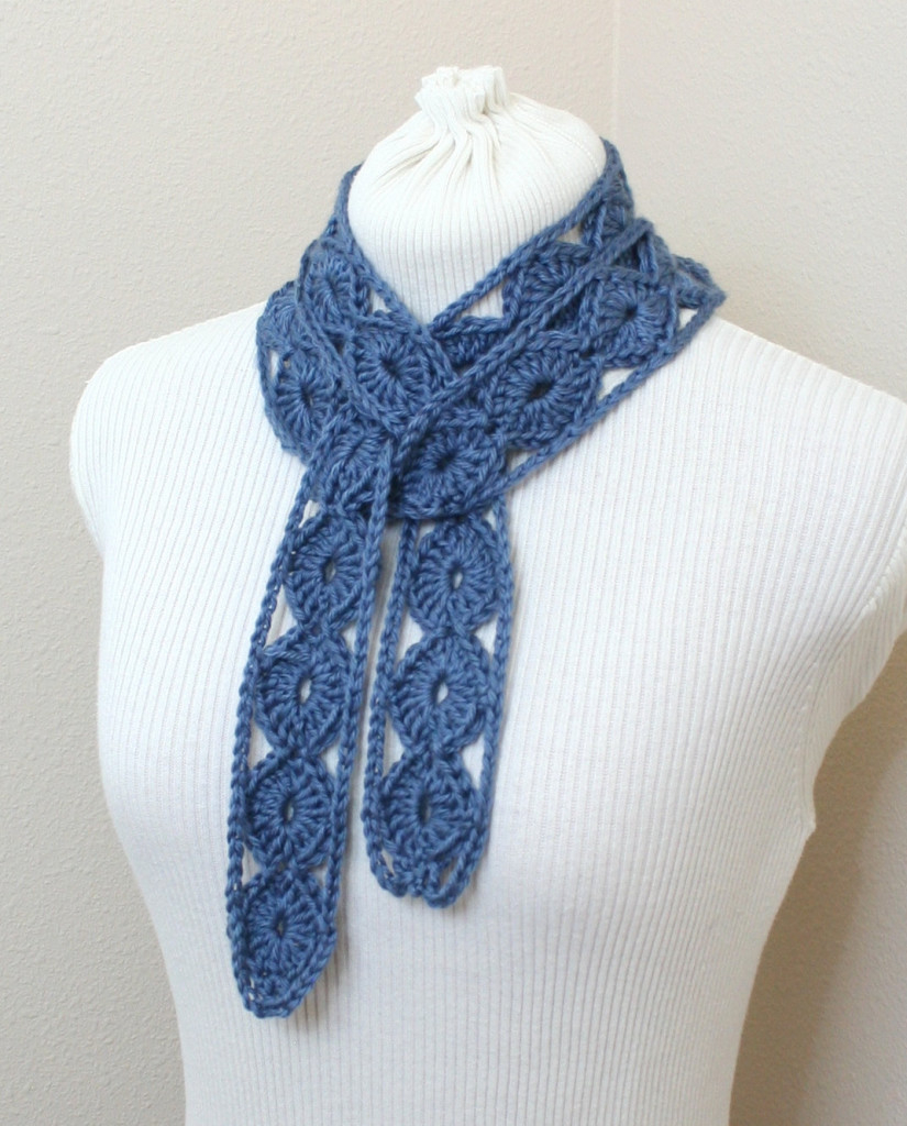 Diamond Crochet Pattern  Crochet Skinny Scarf Pattern Diamond Motif