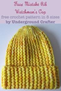 Knit Crochet Patterns Crochet Pattern Faux Mistake Rib Watchmans Cap In 8 Sizes